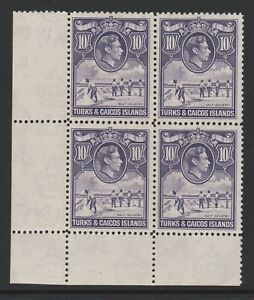 TURKS & CAICOS 1938 10/- BRIGHT VIOLET IN BLOCK OF FOUR SG 205 MNH/ MINT.