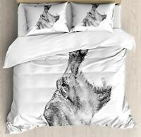 Hippo Duvet Cover Set Twin Queen King Sizes with Pillow Shams Bedding