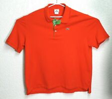 LACOSTE Mens Orange Short Sleeve Polo Shirt Logo Spell Out Size 8 XXL EUC