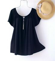 New~$68~Black Peasant Blouse Shirt Textured Spring Boho Plus Size Top~1X