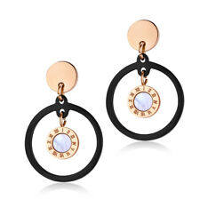 TT Rose Gold/Black S.Steel Round Mother Pearl Dangle Earrings (EW16) NEW