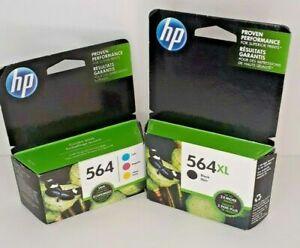 HP 564 Inkjet Printer Ink ~ 564XL Black + 564 Color NIB Authentic Recent Expire