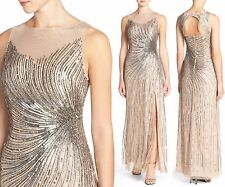NWT$359 Adrianna Papell Embellished Mesh Slit Gown Taupe/Pink [SZ 4 US] #N732