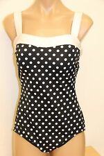 New  I.N.C.  INC   Swimsuit Bikini 1 one piece Size 10 Black White dots