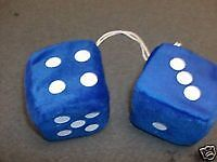 FUZZY DICE IN BLUE FOR THE REAR VIEW MIRROR ALL CAR AND TRUCKS FOR FUN  3 INCH