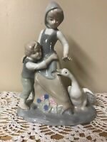 "Vintage DUNCAN ROYALE Figurine 8 3/4""~Peasant Girl w/Ducks~Pale Blue & White"