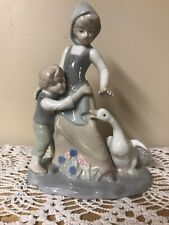 "Vintage Duncan Royale Figurine 8 3/4""~Peasant Girl w/Ducks~Pale Blue & White"