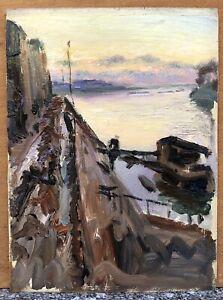Tableau Ancien Huile Paysage Impressionniste Fleuve Quais Bateaux Ciel XIXe