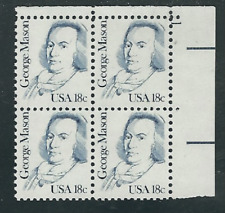 Scott # 1858...18 Cent ..George Mason..  5 Plate Blocks...20 Stamps