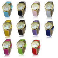 Women Retro World Map Design Leather Alloy Band Analog Quartz Wrist Watch Cheap