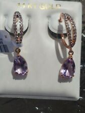 Amethyst Pear Cut And White Topaz Earrings 10kt Solid Rose Gold