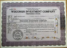 Wisconsin Investment Company 1933 Bank Stock Certificate - WI