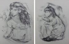 Mariette LYDIS : Jeune fille / petite fille qui joue - 2 GRAVURES #1947