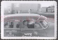 Unusual Vintage Photo Teen Boy & Pretty Girl w/ Graffitti Car 672356
