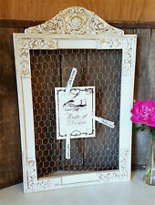 Country Shabby Chic French Cottage Chicken Wire Memo Board Frame Wood White