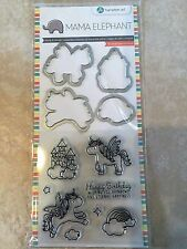 Clear Acrylic Stamp & Die Set by Mama Elephant Over the Rainbow Unicorn SC0784