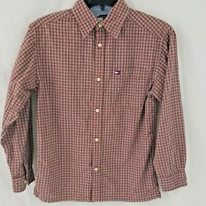Tommy Hilfiger Boys Shirt Sz M Long Sleeve Plaid Button Front Y2K Spell Out Tag