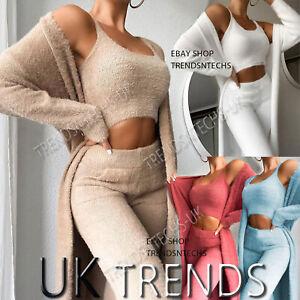 Ladies Teddy Lounge Wear Set Womens 3 Piece Tracksuits Fleece Pyjamas Cardigan