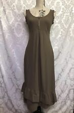 Deca De Vous A Nous Womens Dress Sz 1/ US Small Brown Ruffle Sleeveless Stretch
