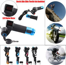 5x Twist Throttle Grips 3 Speed Switch With LED Display Screen Handle for Ebike Silver