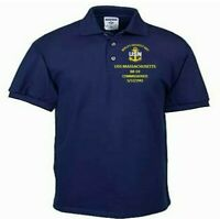 USS MASSACHUSETTS  BB-59 COMMISSIONED NAVY  EMBROIDERED LIGHT WEIGHT POLO SHIRT