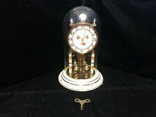 Kundo Triple Floral Face Anniversary Clock With Glass Dome And Key - Working