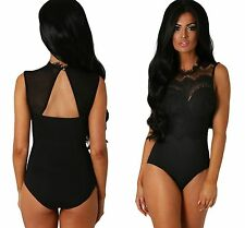 Ladies Black Sheer Lace High Neck Cut Out Back Bodysuit Padded Size 8 10 12 14