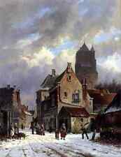 Metal Sign Eversen Adrianus Figures In A Snowy Village Street A4 12x8 Aluminium