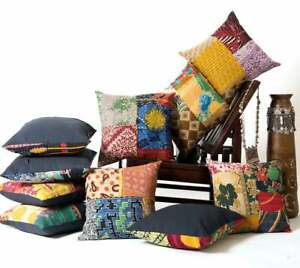 10 PC Indian Pillow Sofa Case Vintage Cotton Kantha Quilted Cushion Cover Sham