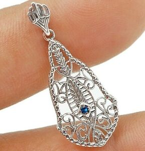 Sapphire 925 Solid Sterling Silver Victorian Style Pendant Jewelry VP1