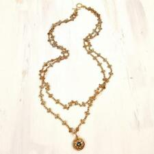 La Vie Parisienne Catherine Popesco Lotus Chain with Crystal Medallion Necklace