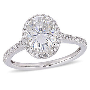 Amour 14k White Gold Moissanite and Diamond Double Halo Engagement Ring