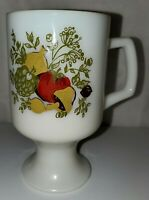 Vintage Pyrex Corning Spice of Life Milk glass Footed Pedestal Coffee Mug