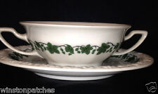 ROSENTHAL GERMANY CLASSIC ROSE SOUP BOWL & SAUCER 10 OZ GREEN IVY ON WHITE