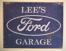 LEE'S FORD GARAGE, TIN PLATE SIGN, ESCORT, GRANADA, CORTINA, XR2, XR3, FIESTA