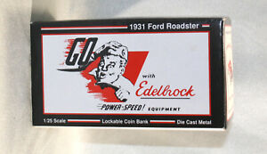 1931 Ford Roadster Die-Cast Coin Bank Go with Edelbrock MIB Eastwood