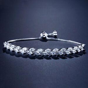 Handmade Multi Horse Eye White Fire Topaz Gems Silver Adjustable Slide Bracelets