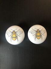 🐝 Bee Door Cupboard Cabinet Handles Knobs X2 Wooden Decorative Pretty 40mm