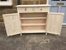 BESPOKE H80 W80 D30cm CUPBOARD 2 DOORS 2 DRAWERS SIDEBOARD HALL TABLE UNTREATED