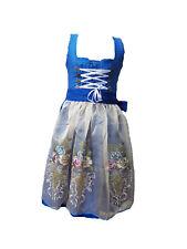 EXKLUSIV Damen midi Dirndl in blau mit bestickter organza Schürze Gr. 36-42