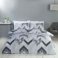 Duvet Cover Set - Single Cotton Bed Set Grey White Marble Geometric Bedding Set