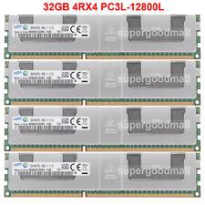 For Samsung 128GB 4X32GB 4Rx4 PC3L-12800L DDR3L-1600Mhz Registered LRDIMM Server