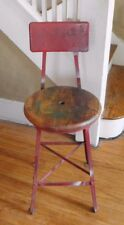 VINTAGE DRAFTING STOOL MACHINE AGE INDUSTRIAL ROUND STOOL STEAMPUNK Chair