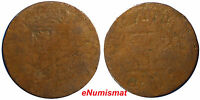 PHILIPPINES (Spain COLONY) 1817-1833 1 Quarto Coin BROCKAGE SCARCE KM#7 (6263)