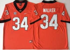 NEW Mens Georgia Bulldogs Red #34 WALKER Football Jersey