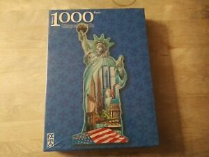 FX Schmid Statue of Liberty Shaped 1000 Pc. Puzzle New York Twin Towers NEW