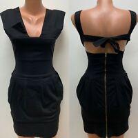 PREEN by THORNTON BREGAZZI size M - UK 6 - 8 Dress Black Panel Bandage Cut Out