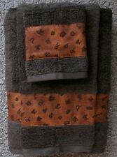 Western/Cabin Decor, Rustic 3 Pc Towel Set, Chocolate Brown, Cattle Brand Border