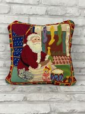 """Needlepoint Santa Throw Pillow With Insert 14"""" Square Christmas Holiday"""