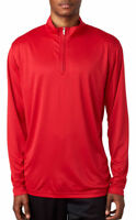 UltraClub Men's Athletic Performance Fit Long Sleeve 1/4 Zip Pullover. 8424